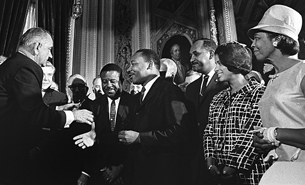 LBJ and MLK and Rosa Parks Voting Rights Act