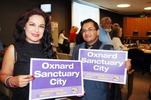 SEIU 721 members Rosa Valladares and Roberto Camacho after the Council votes to make Oxnard a Sanctuary City.
