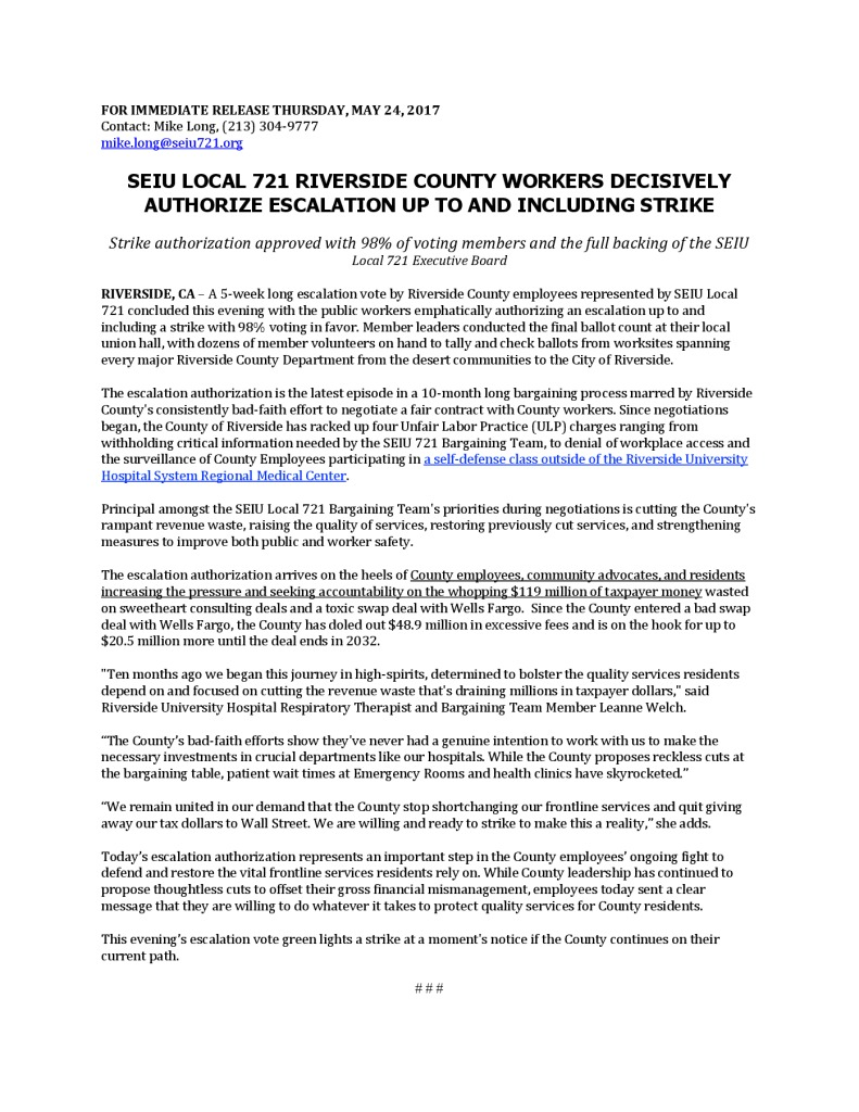 PRESS RELEASE FOR: Thurs , May 24, 2017 - SEIU Local 721
